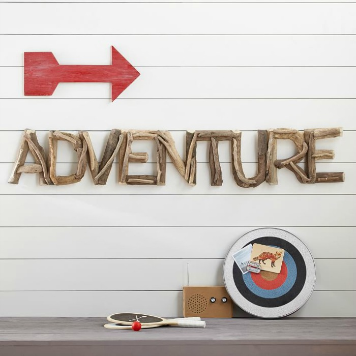 "Driftwood ""ADVENTURE"" letters as wall hanging - so cute!"