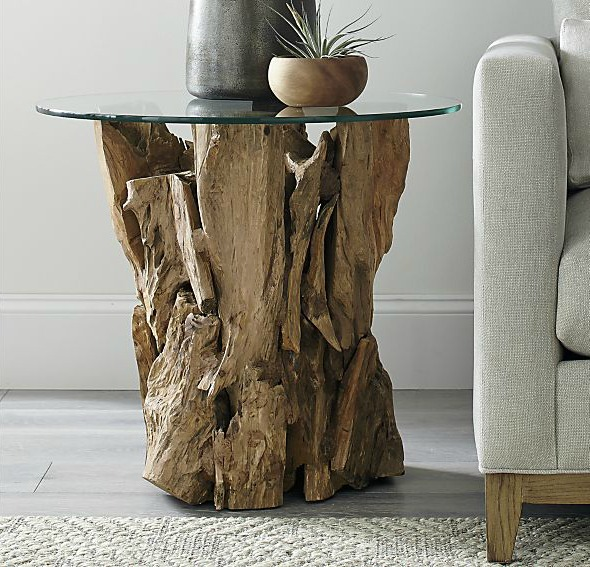 Gorgeous driftwood side table - perfect for adding warmth and texture to a living room!