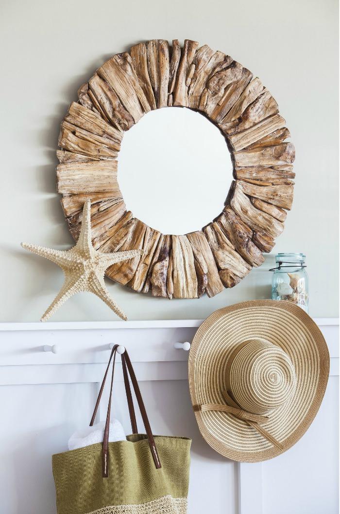 Oversized round driftwood mirror - gorgeous!