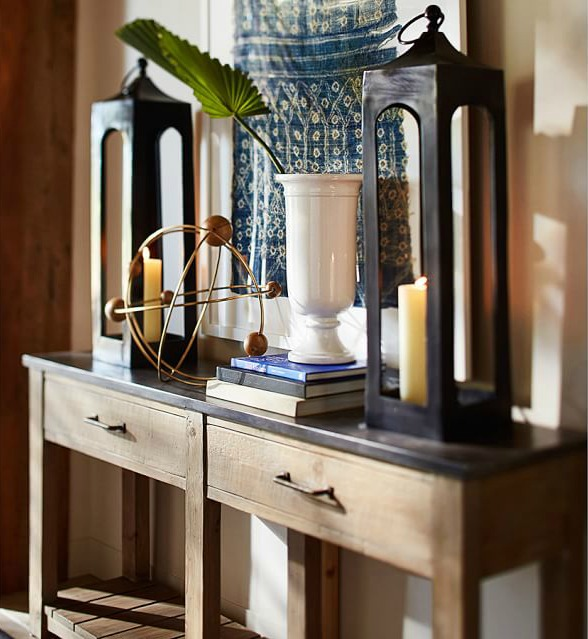 Decorate a console table with a pair of lanterns - beautiful!