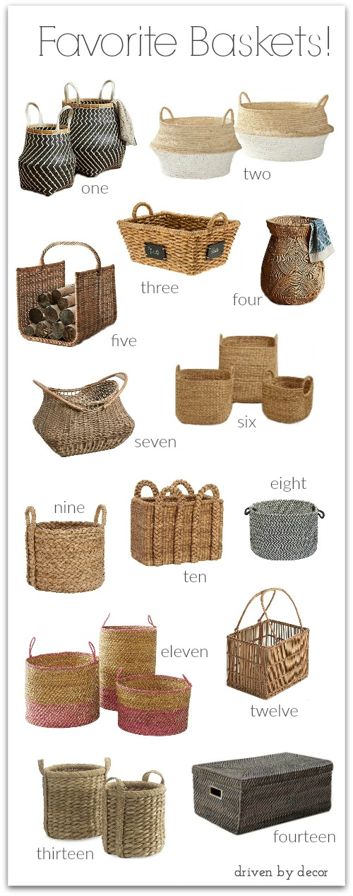 Love these baskets! Post has full source list and lots of inspiration for where to use baskets in your home.