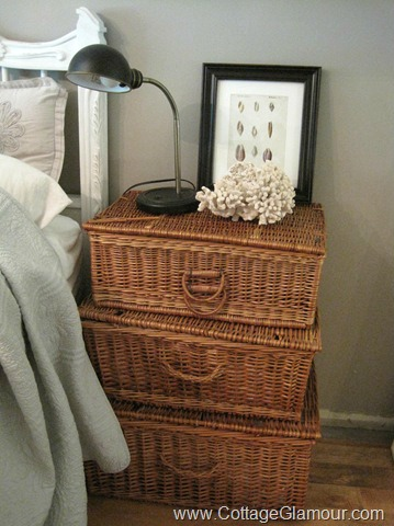 Set of three baskets stacked and used as nightstands