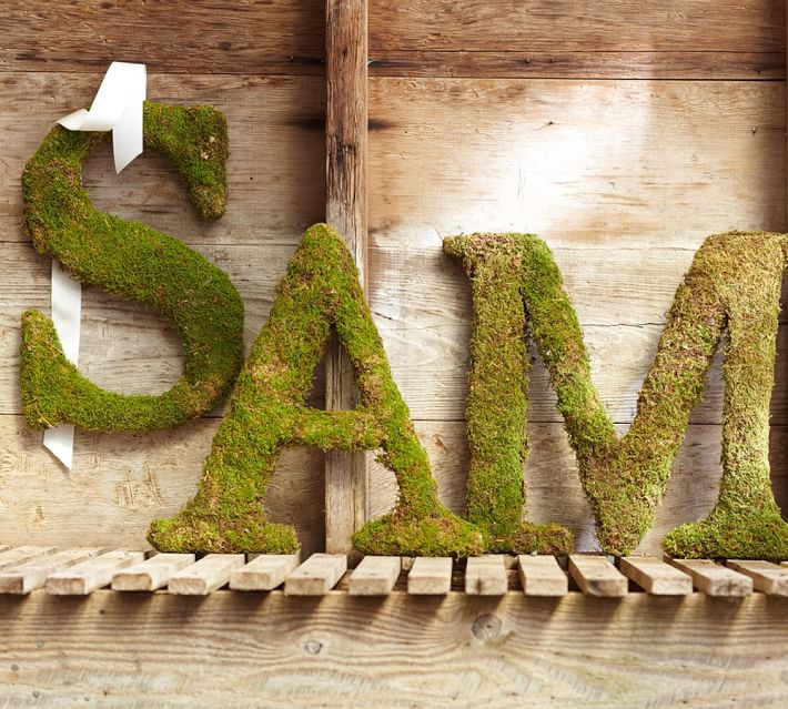 Loving these decorative moss letters!