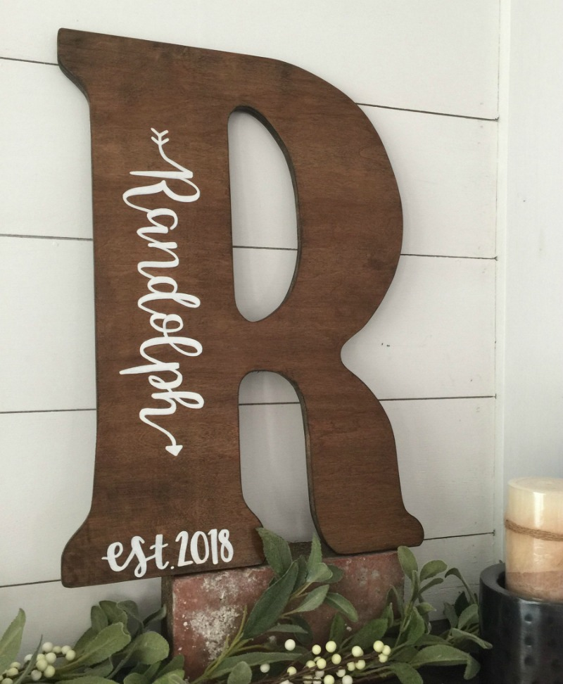 Gorgeous large wood decorative letter that can be personalized with your name and year!