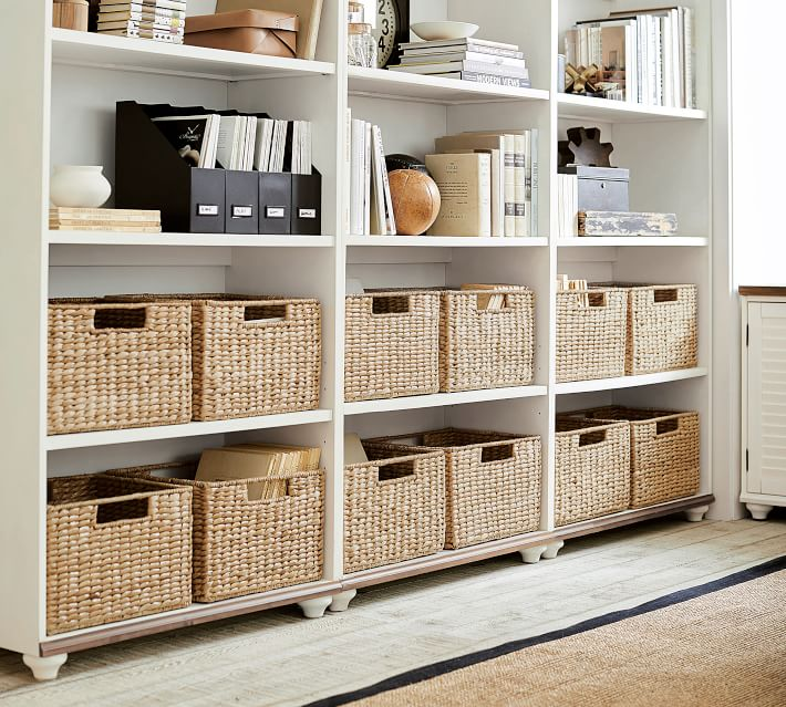 These square seagrass baskets keep office clutter out of sight!