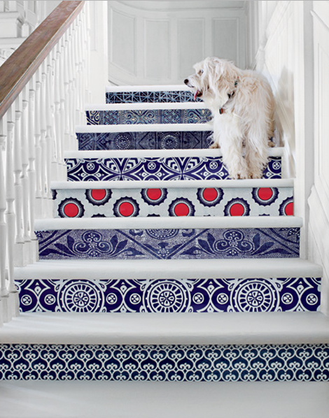 Love these patterned stair risers covered in different patterns of wallpaper!