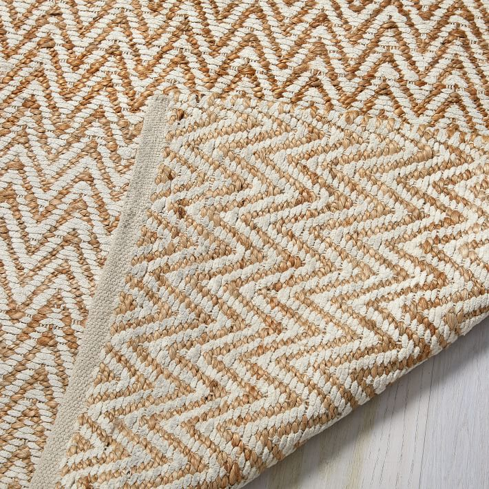 Loving this jute chenille herringbone rug in ivory and natural