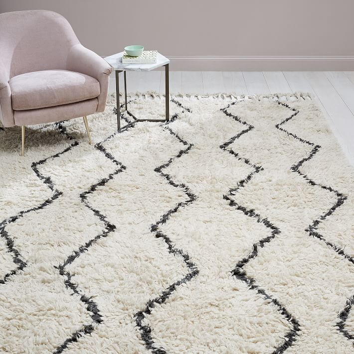 Loving this high pile ivory souk rug - works in almost any space!