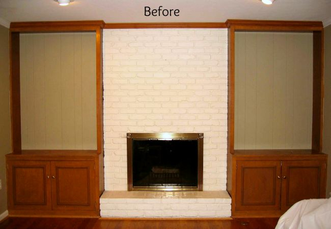 Before of Fireplace and Bookcase