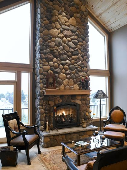 Fabulous river rock fireplace