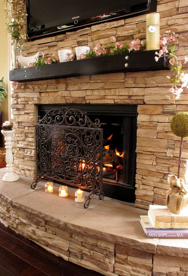 gorgeous stacked stone fireplace - How To Stone Veneer Fireplace