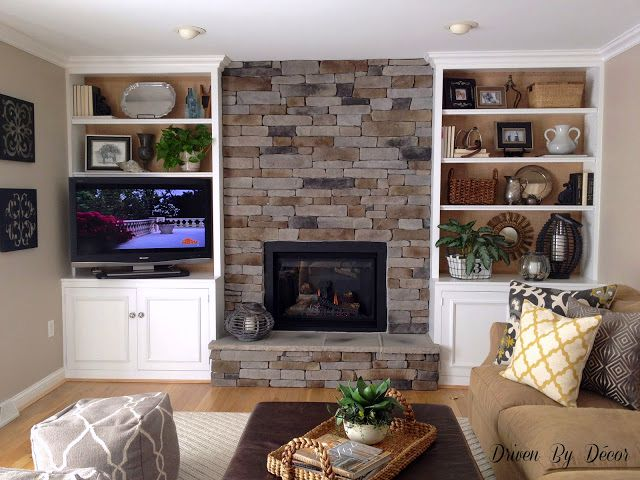 stone veneer fireplace and bookcases - Fireplace With Stone Veneer