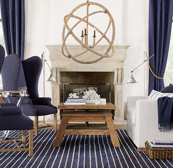 Statement-making rope pendant chandelier - perfect in this living room!