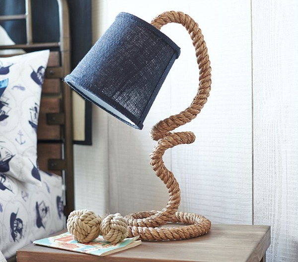 Love this rope table lamp - perfect for the nightstand in a bedroom!