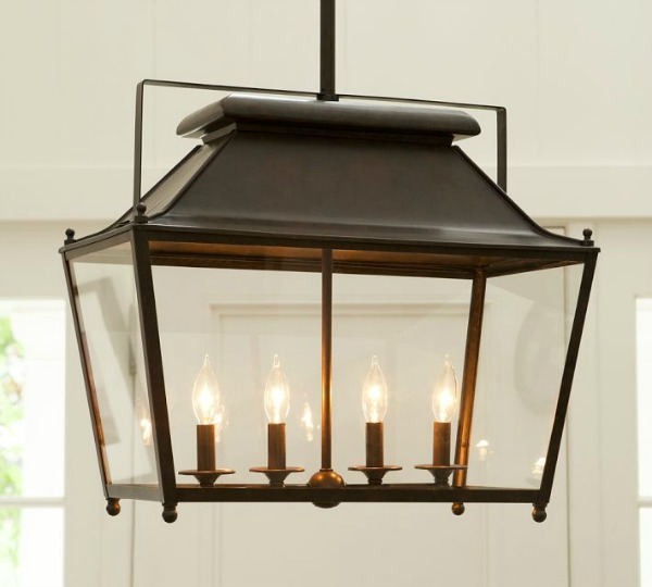 Gorgeous rectangular hanging lantern in bronze