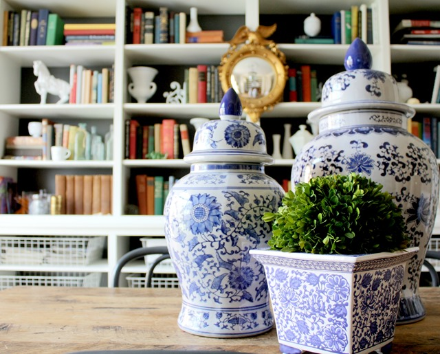 Blue and white vases and jars - love!