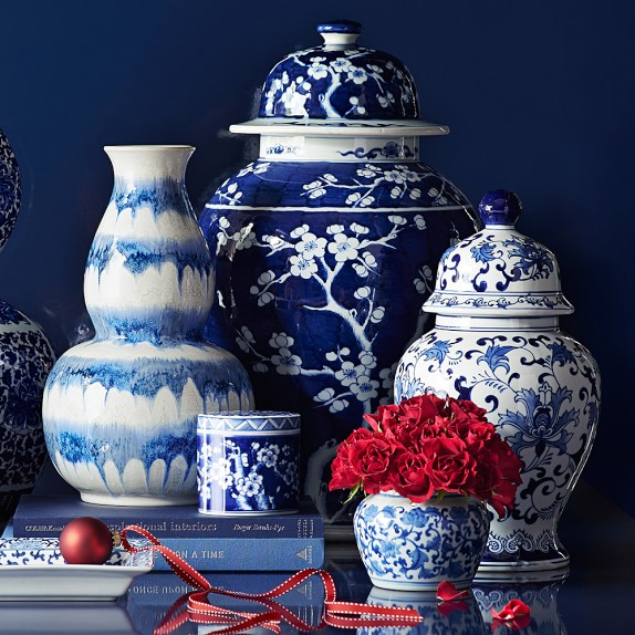 LOVE these blue and white porcelain jars!