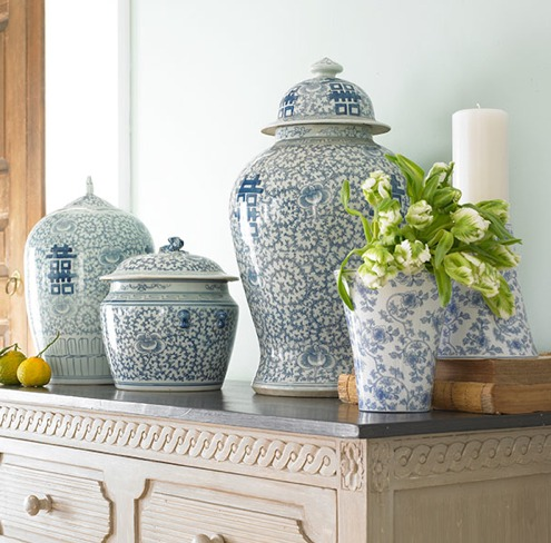 Wisteria blue and white porcelain Happiness Pots