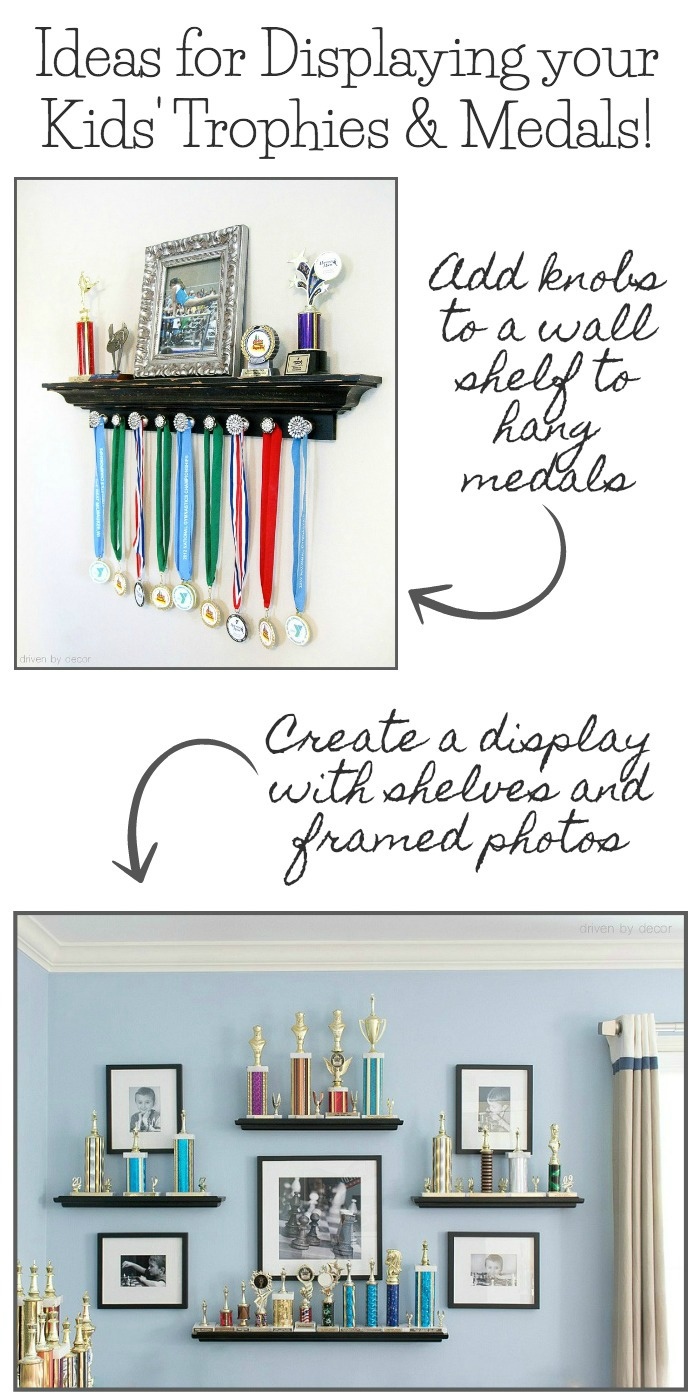 Love these ideas for displaying kids' trophies, medals, and ribbons! Click through for the how-to!