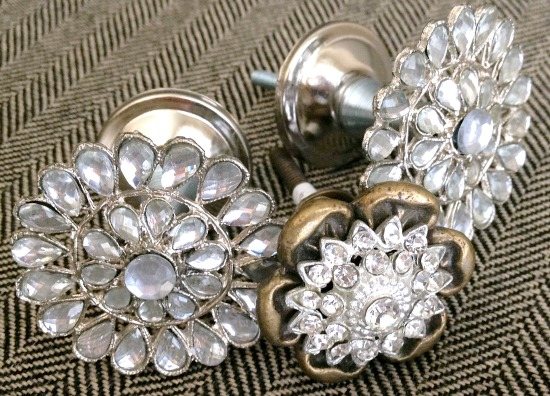 Rhinestone and gold cabinet knobs used to create a holder for displaying medals