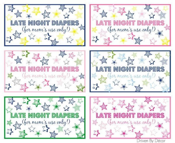 Late Night Diapers Signs printables - adorable!!