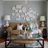 Plate wall over sofa