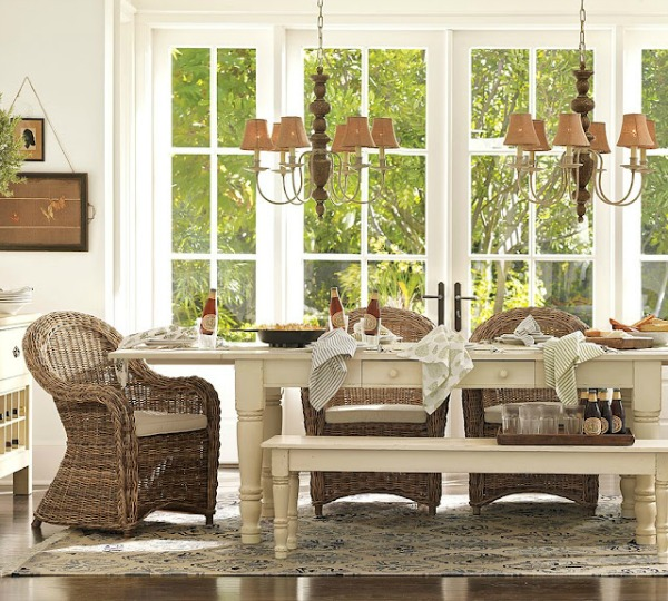 Vignette Design Pottery Barn Rattan Dining Armchairs