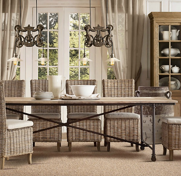 Restoration Hardware gray rattan side chairs