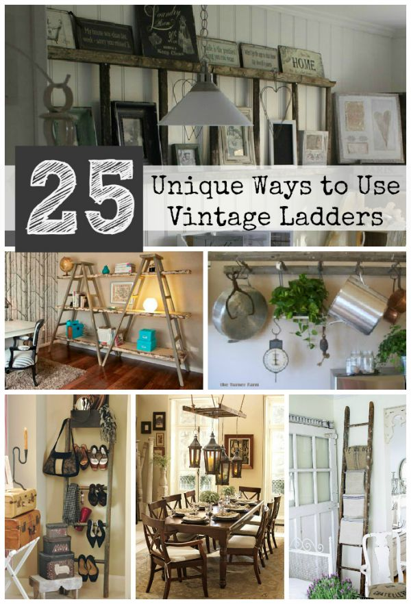 25 unique ways to decorate with vintage ladders driven for Decoration usine vintage