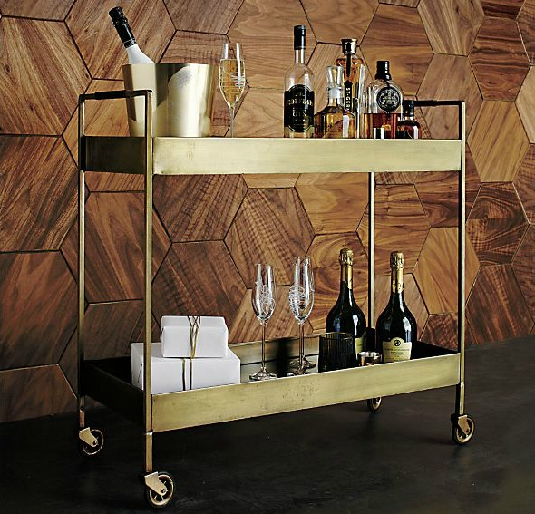 Crate & Barrel's Libations Bar Cart in brass