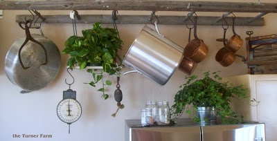 Hanging vintage ladder used as kitchen pot rack