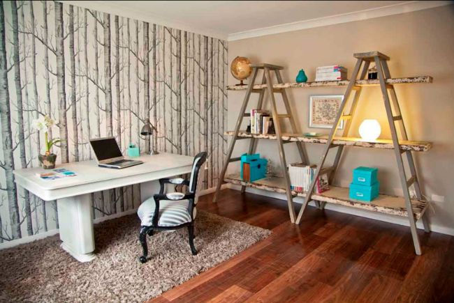 Two ladders with boards between them make creative shelving