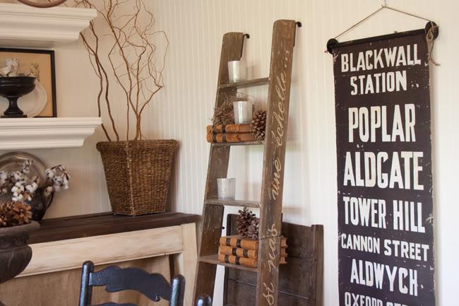 Vintage Ladder Used As Decorative Shelving