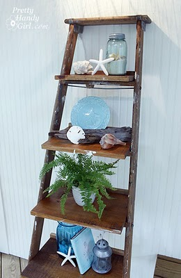 Vintage ladder used as shelving - great idea!