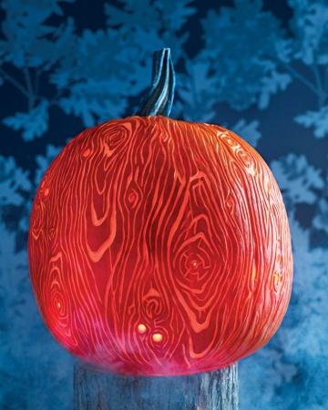 Faux Bois Pumpkin Pattern Stencil Carving