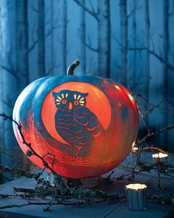 Night Owl Pumpkin Carving Stencil Pattern