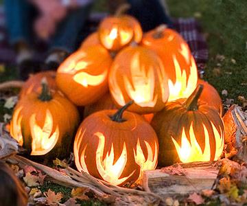 Pumpkin flames carving stencil pattern