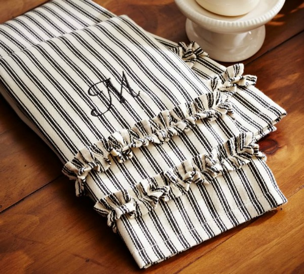 Ticking stripe ruffled guest towels by Pottery Barn