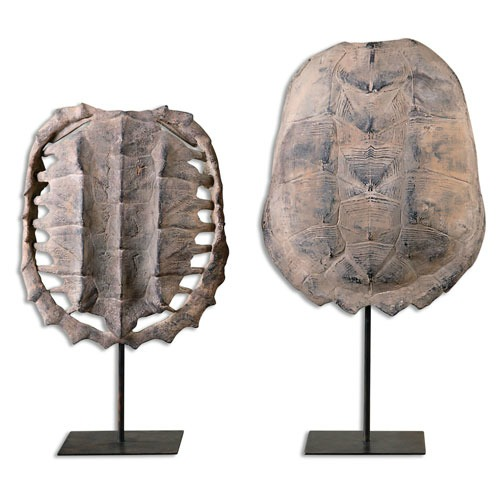 Faux turtle shells on stands - perfect for decorative art on shelves!