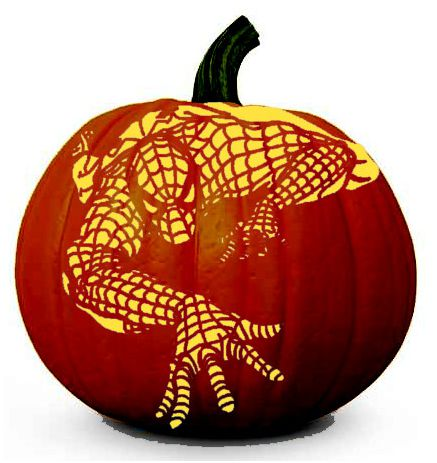 spiderman pumpkin carving stencil pattern
