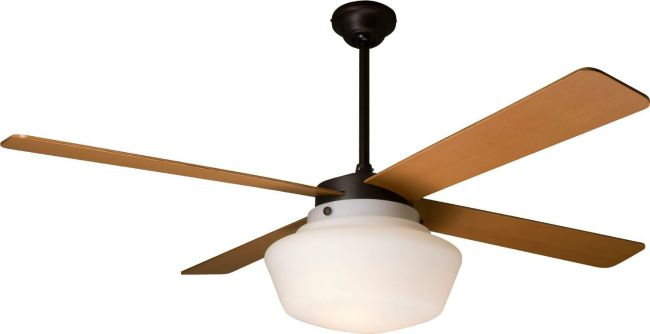 Schoolhouse Rubbed Bronze 52 Inch Outdoor Ceiling Fan