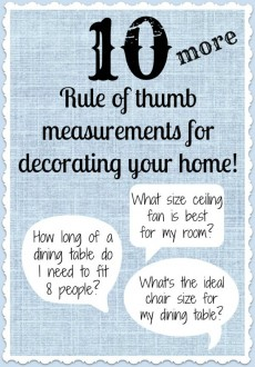 10 More Rule of Thumb Measurements for Decorating Your Home