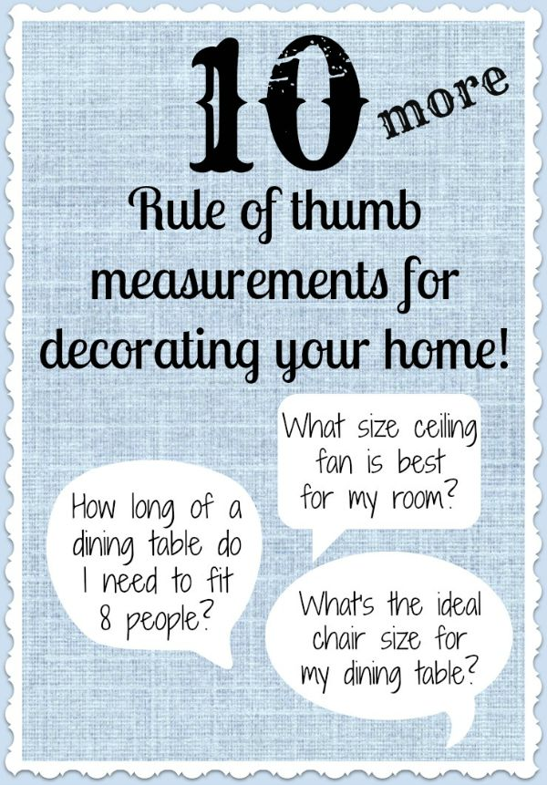 10 helpful measurements for decorating your home!