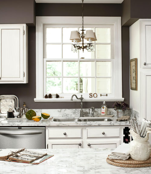 Finding the perfect dark gray paint color driven by decor for Kitchen colors with white cabinets with bronze fish wall art