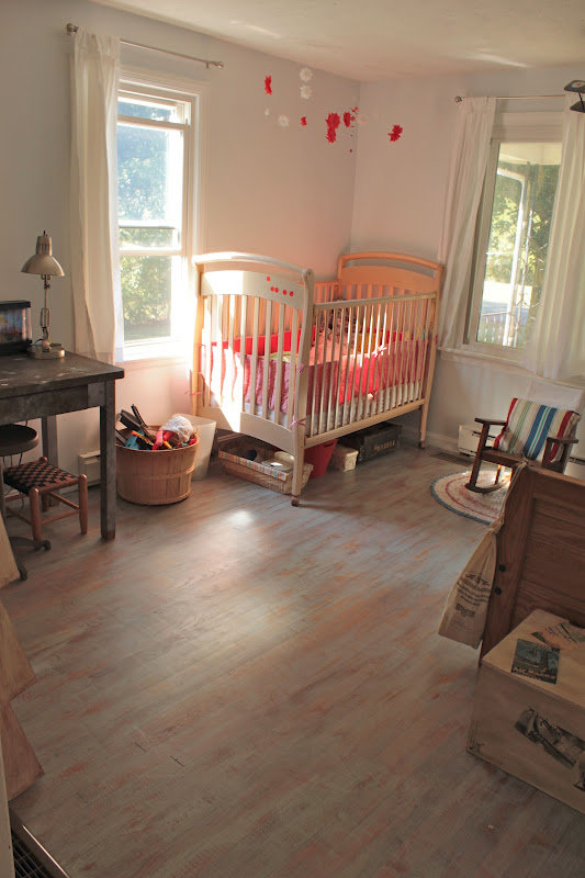 Love how she used a chalk paint wash to create this look on her hardwoods!