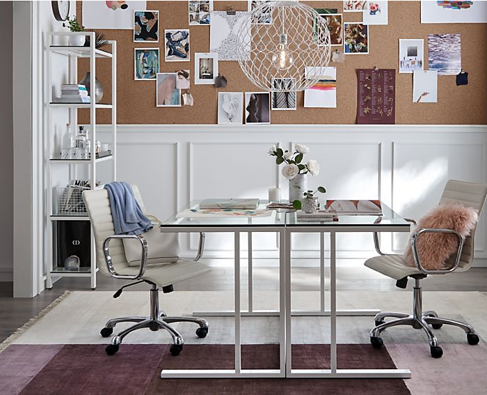 Love these back to back glass desks to create a home office for two!