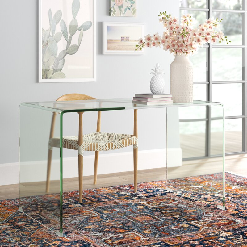 Beautiful all-glass desk that keeps your room feeling open and airy!
