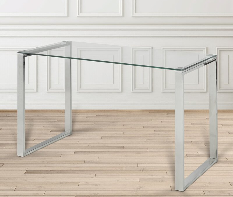 Gorgeous glass top desk with silver base
