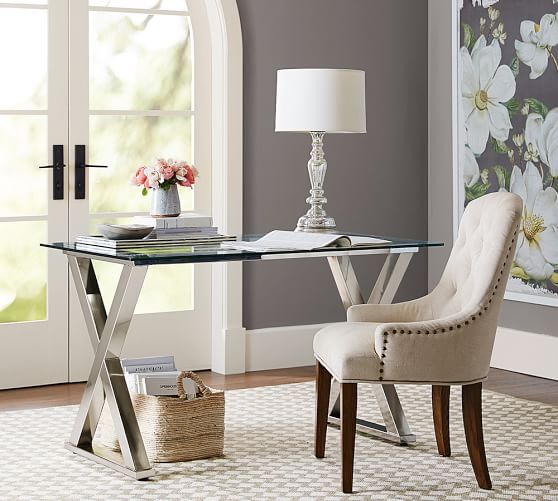 Gorgeous glass desk with polished nickel x-base - love!