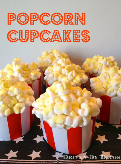 Movie Themed Birthday Party: Popcorn Cupcakes